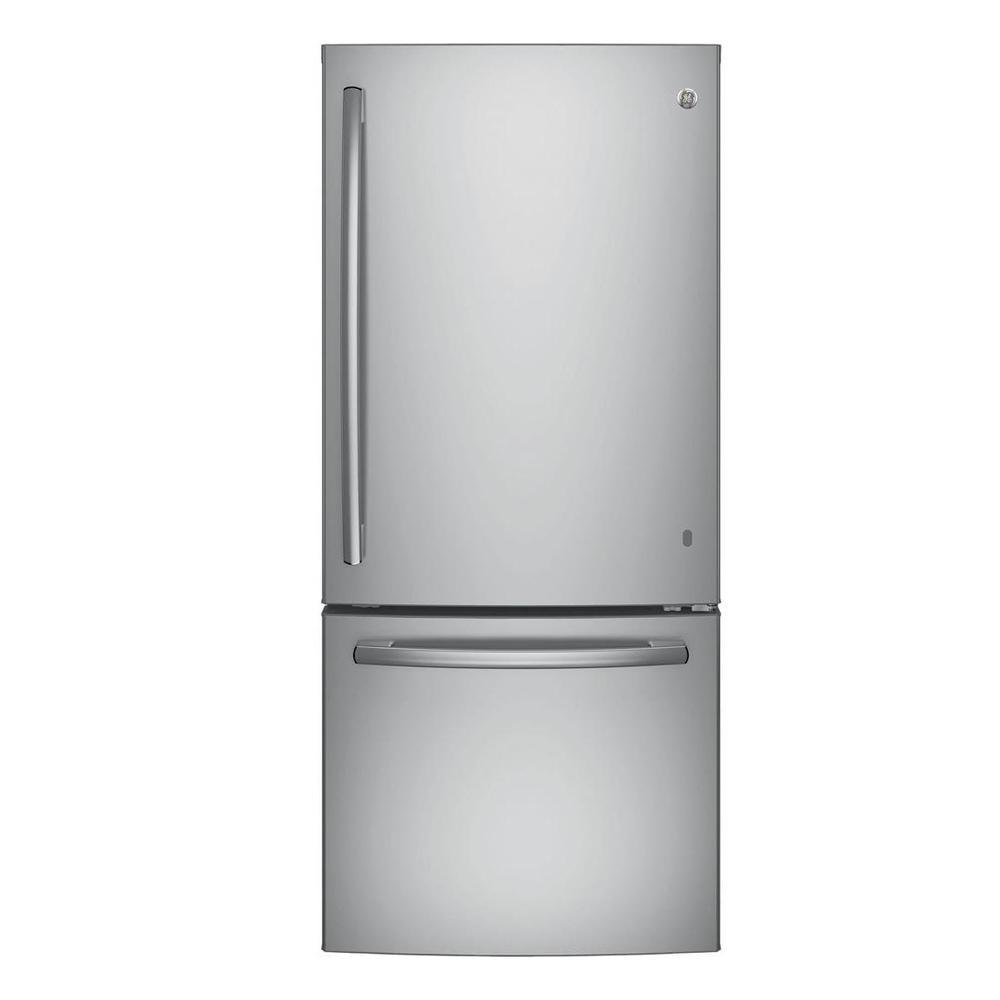 Ge 30 In W 209 Cu Ft Bottom Freezer Refrigerator In Stainless