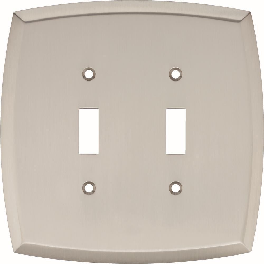 Hampton Bay Amherst Decorative Double Light Switch Cover Satin Nickel