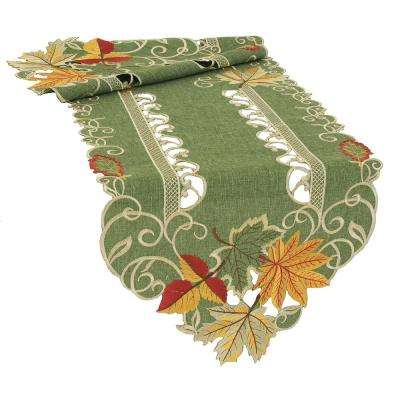 0.1 in. H x 15 in. W x 54 in. D Delicate Leaves Embroidered Cutwork Fall Table Runner