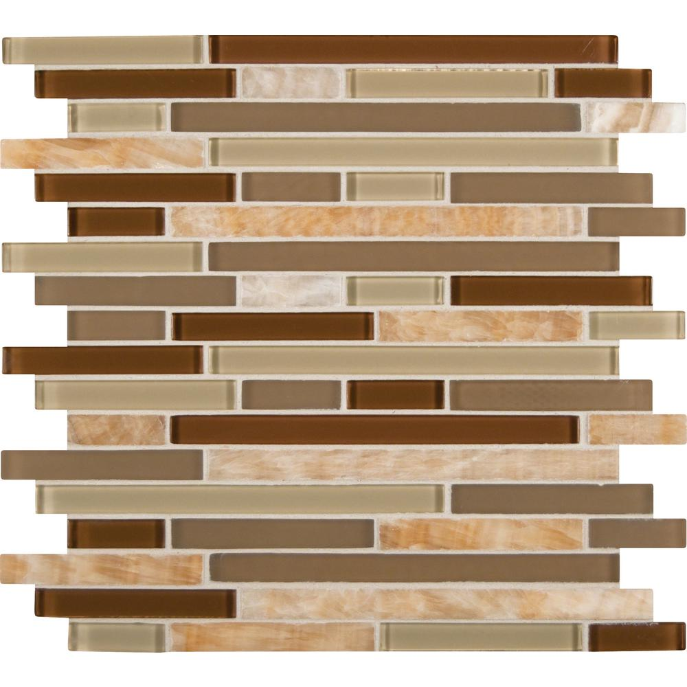 MSI Honey Caramel Interlocking 12 in. x 12 in. x 8 mm Glass Stone Mesh-Mounted Mosaic Tile