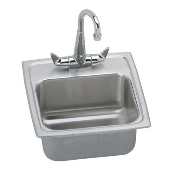 Lustertone All-in-One Drop-In Stainless Steel 15 in. 1-Hole Bar Sink with Faucet and Basket Strainer