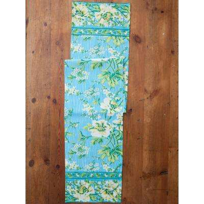 Turquoise Water Lily Floral 13 in. x 72 in. Table Runner