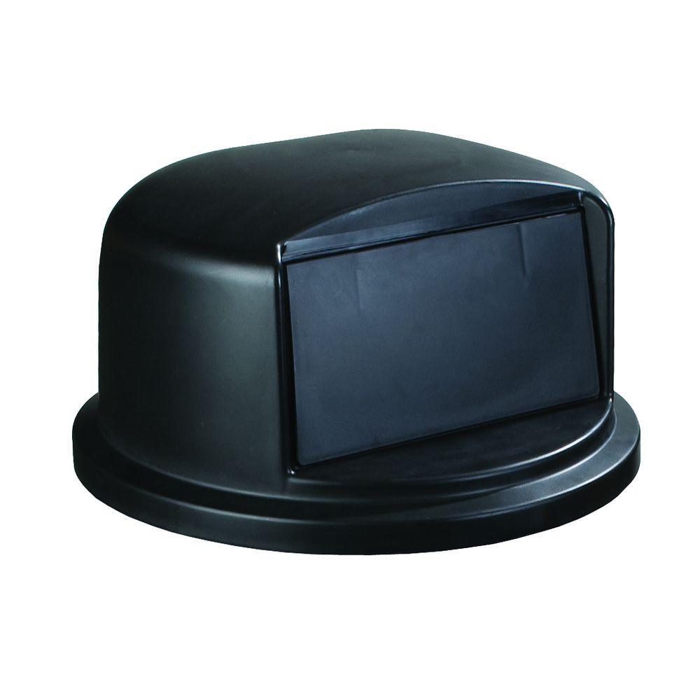 Carlisle Bronco 44 or 55 Gal. Black Round Trash Can Flapped Dome Lid by Carlisle