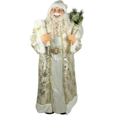 5 ft. Christmas Standing Santa Claus Holding a Gift and Wearing a Gold Brocade Robe with Fur Trim