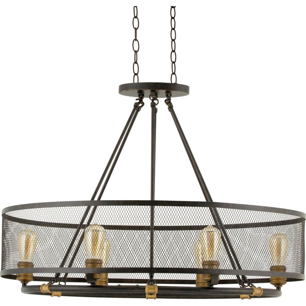 Attractive Mayfield Park Collection 35 In. 6 Light Forged Bronze Oval Chandelier With  Mesh Shade