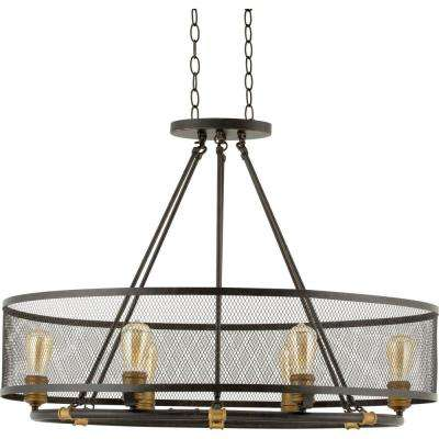 Mayfield Park Collection 35 in. 6-Light Forged Bronze Oval Chandelier with Mesh Shade