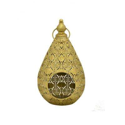 8 in. x 7.75 in. Gold Metal Lantern