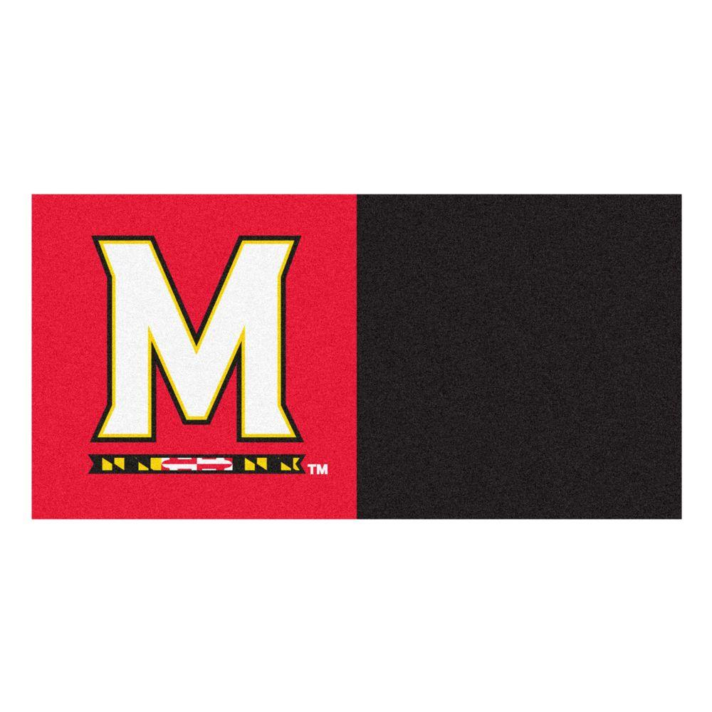 TrafficMASTER NCAA - University of Maryland Red and Black Nylon 18 in. x 18 in. Carpet Tile (20 Tiles/Case)