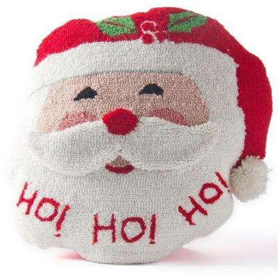 15 in. H Hooked Pillow Santa