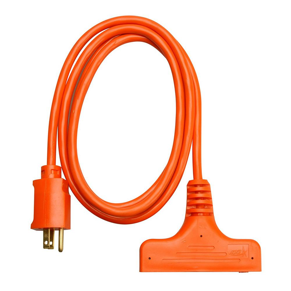 6 ft. 14/3-Gauge SJTW Tri-Source Extension Cord, Orange