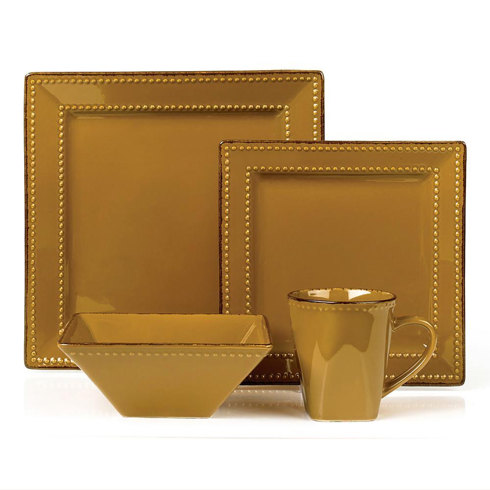 Lorren Home Trends 16-Piece Mocca Square Beaded Stoneware Dinnerware Set LH503