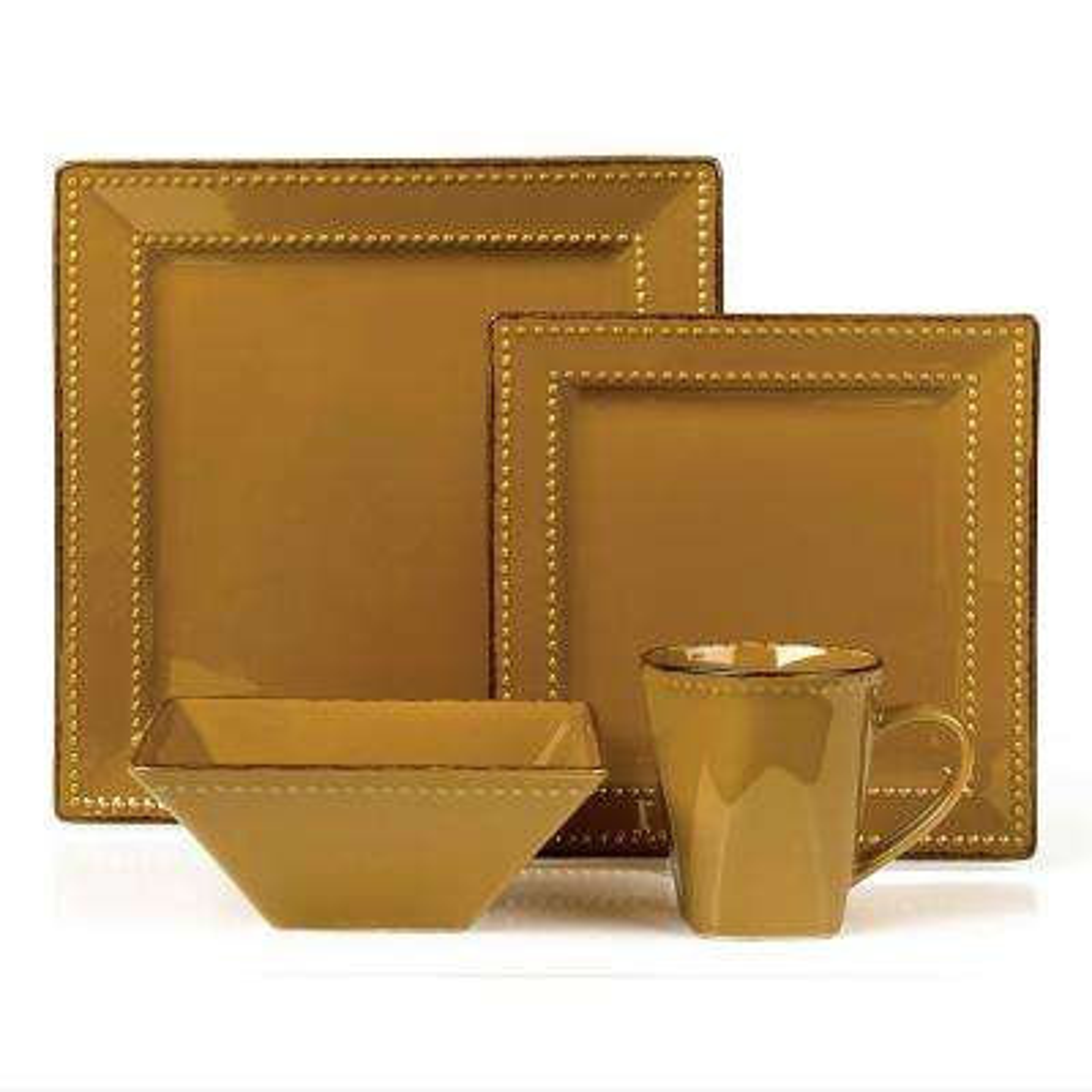 16-Piece Mocca Square Beaded Stoneware Dinnerware Set