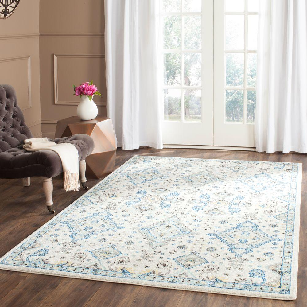 Evoke Ivory Light Blue 4 Ft X 6 Area Rug