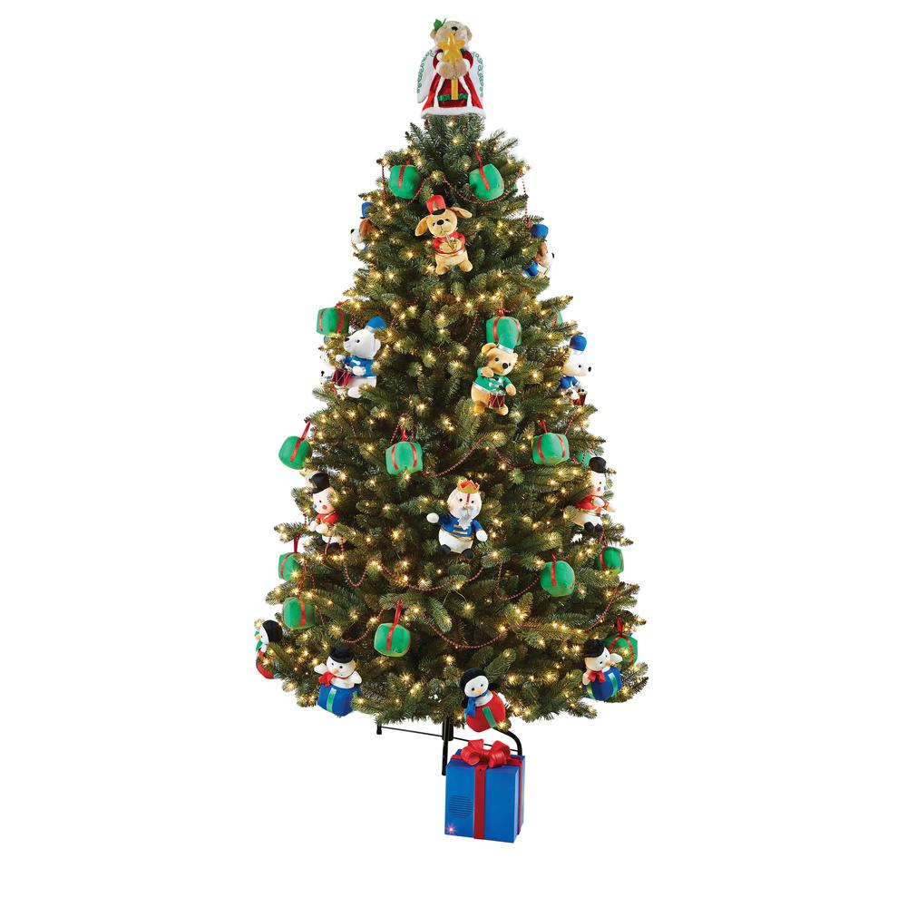 home accents holiday 75 ft artificial christmas tree with musical animated plush and led illumination