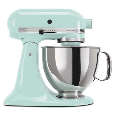 Artisan 5 Qt. 10-Speed Ice Blue Stand Mixer with Flat Beater, 6-Wire Whip and Dough Hook Attachments