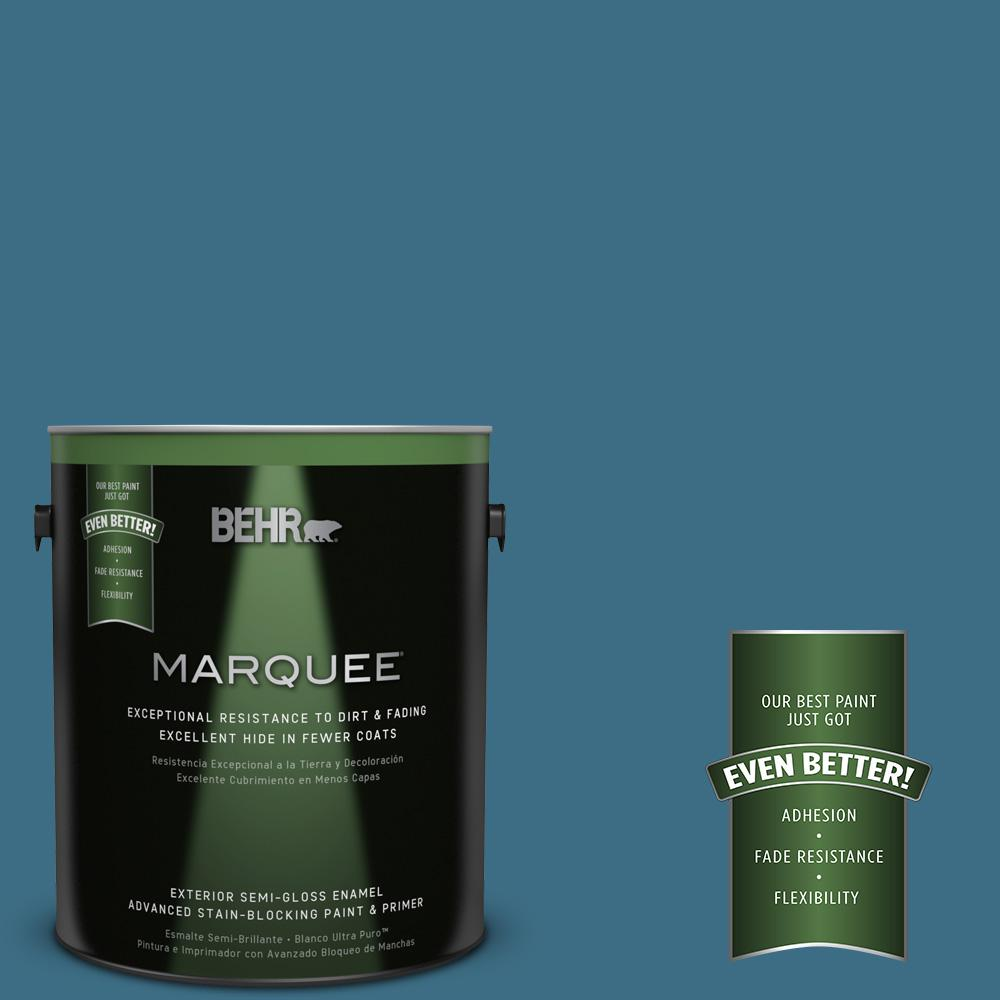 BEHR MARQUEE 1-gal. #S490-6 Bering Wave Semi-Gloss Enamel Exterior Paint