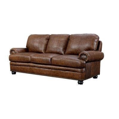 Rheinhardt 36.50 in. Brown Solid Leather 3-Seat English Rolled Arm Sofa with Nailhead