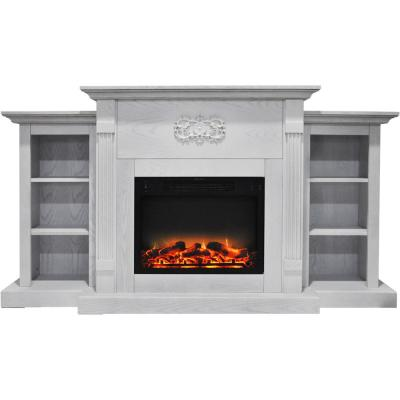 Sanoma 72 in. Electric Fireplace in White with Built-in Bookshelves and an Enhanced Log Display