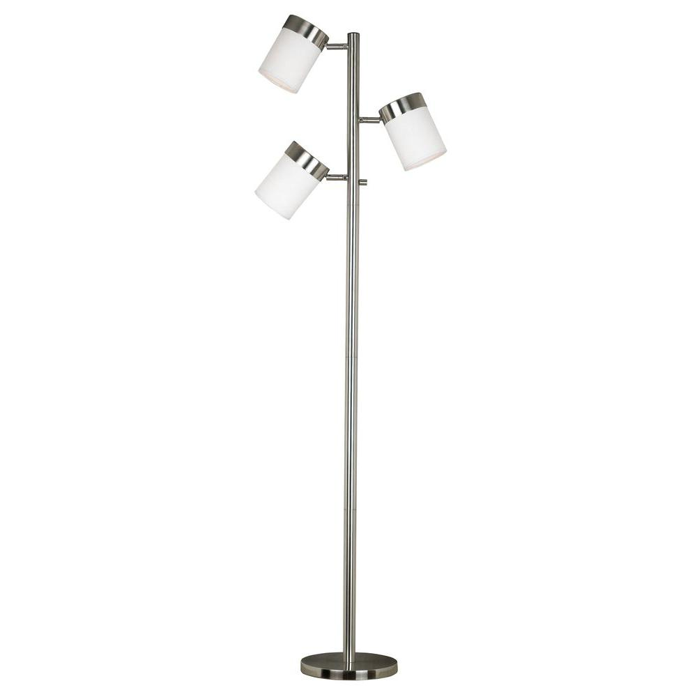 Kenroy home roarke 65 in brushed steel floor lamp 20970bs the brushed steel floor lamp aloadofball Image collections