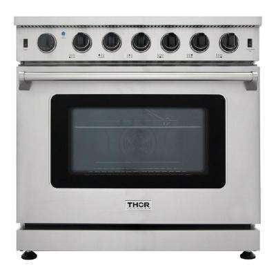 "36"" 6.0 Cu. Ft Single Oven Professional Gas Range in Stainless Steel"