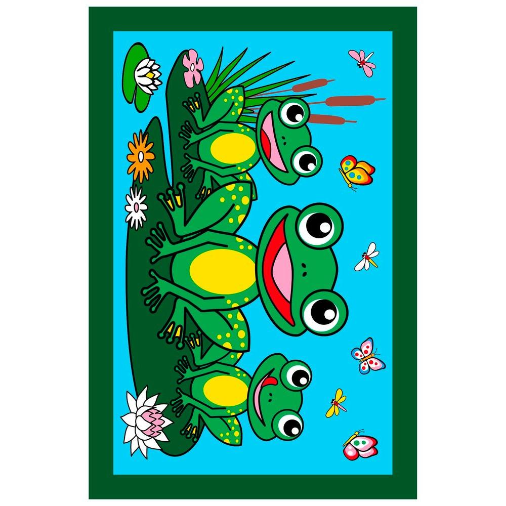 LA Rug Fun Time Frogs Multi Colored 39 in. x 58 in. Area Rug