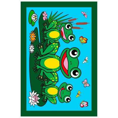 Fun Time Frogs Multi Colored 3 ft. x 5 ft. Area Rug