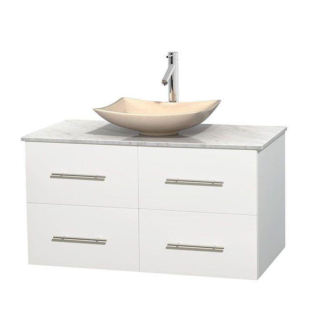 Centra 42 in. Vanity in White with Marble Vanity Top in