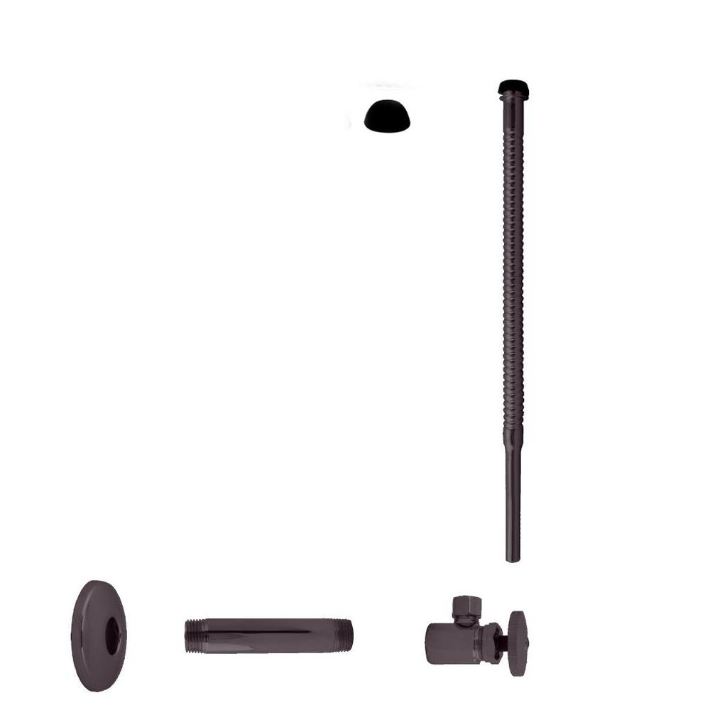 Westbrass 1/2 in. IPS x 3/8 in. O.D. Comp. Outlet x 12 in. Corrugated Supply Line Kit with Round Handle in Oil Rubbed Bronze