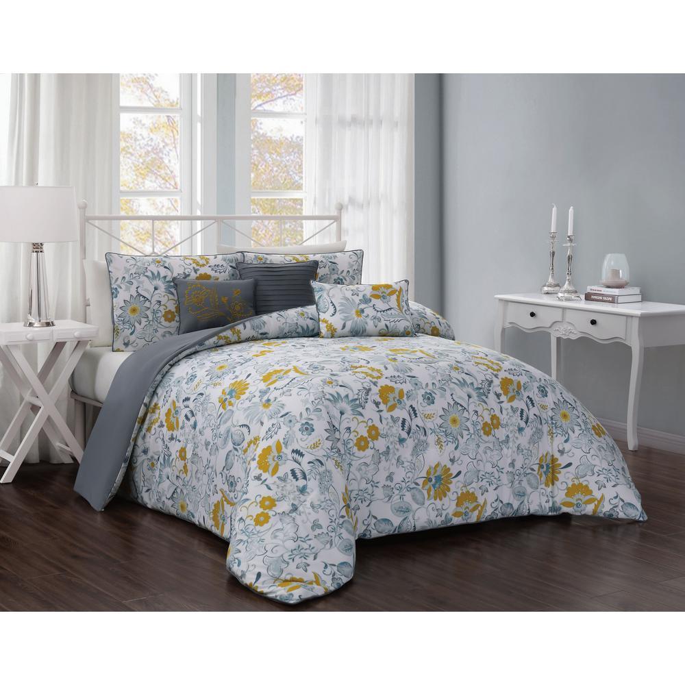Vernazza 6-Piece Teal/Mustard King Comforter Set