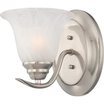 Trinidad 1-Light Indoor Brushed Nickel Bath or Vanity Wall Mount Sconce with Alabaster Glass Bell Shade