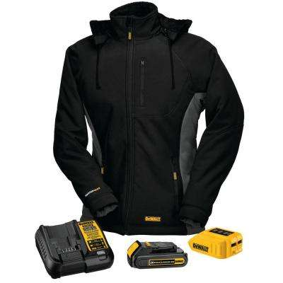 Womens X-Small Black 20-Volt MAX Heated Hooded Jacket Kit with 20-Volt Lithium-Ion MAX Battery and Charger