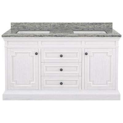 Cailla 61 in. W x 22 in. D Bath Vanity in White Wash with Granite Vanity Top in Santa Cecilia with White Sink
