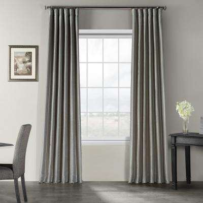Silver Vintage Textured Faux Dupioni Silk Light Filtering Curtain - 50 in. W x 120 in. L