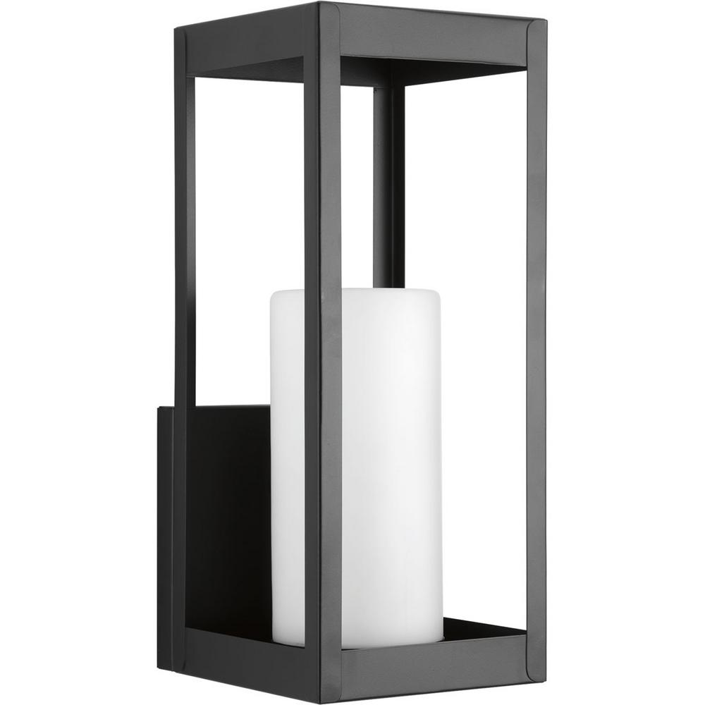 Patewood Collection 1-Light Black 17.4 in. Outdoor Wall Lantern Sconce