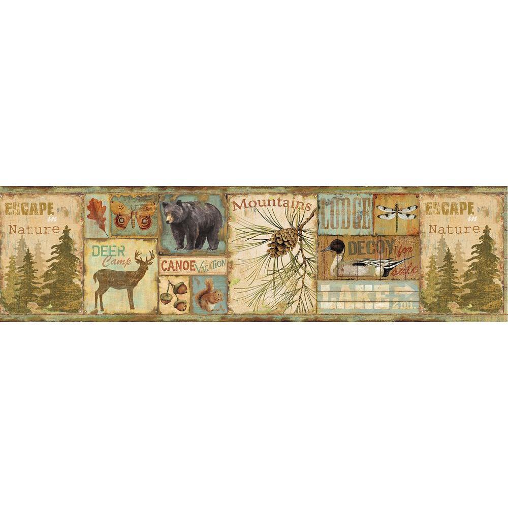 Chesapeake Attitash Aqua Deer Camp Wallpaper Border Sample