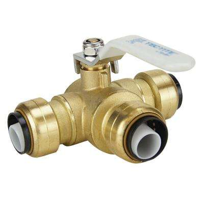 3/4 in. Brass Push-To-Connect 3-Way Ball Valve