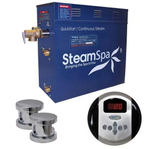 SteamSpa Oasis 12kW Steam Bath Generator Package in Chrome by SteamSpa