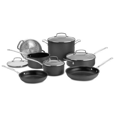 Chef's Classic 11-Piece Hard-Anodized Aluminum Nonstick Cookware Set in Black