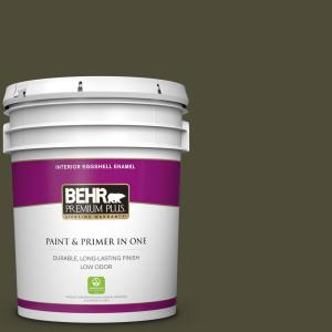 Behr Premium Plus 5 Gal S H 760 Olive Leaf Eggshell Enamel Low Odor Interior Paint And Primer In One 230005 The Home Depot