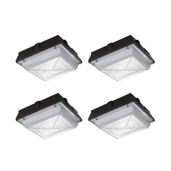 150-Watt Equivalent Integrated LED Dark Bronze Outdoor Security Canopy Light and Area Light with 2200 Lumens (4-Pack)