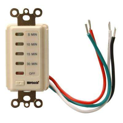15-Amp 5-10-15-30 Minute In-Wall Countdown Digital Timer Switch, Almond