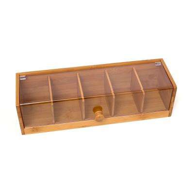 5-Section Bamboo Tea Box with Acrylic Cover