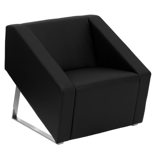 Carnegy Avenue Black Leather Lounge Chair with Triangular Shaped Base