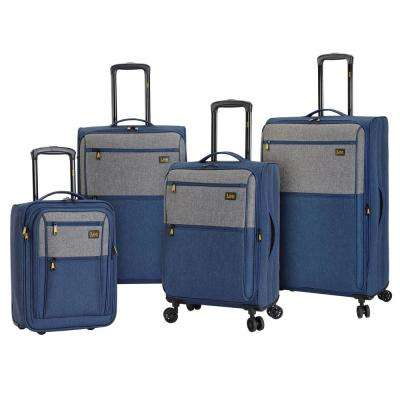 4-Piece Blue/Gray Rolling Vertical Luggage Collection