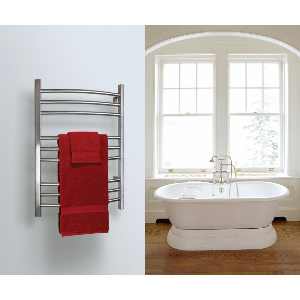 WarmlyYours 9-Bar Riviera Towel Warmer Hardwired Polished Stainless Steel