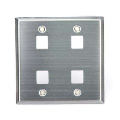 2-Gang QuickPort Standard Size 4-Port Wallplate, Stainless Steel