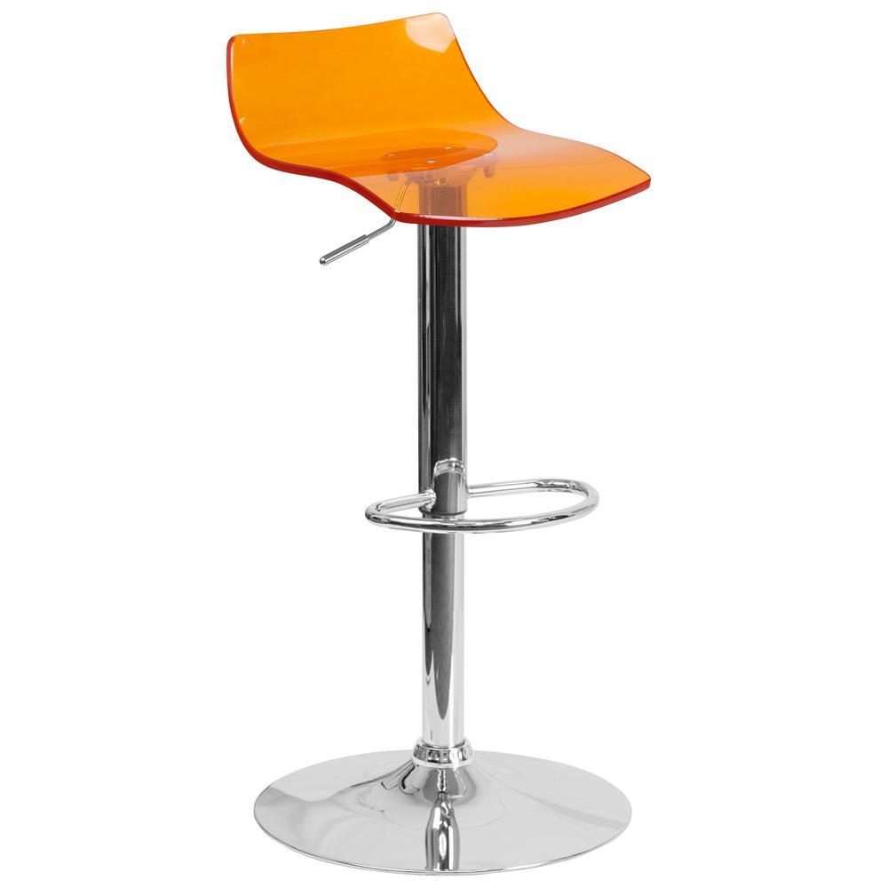 Adjustable Height Orange Bar Stool