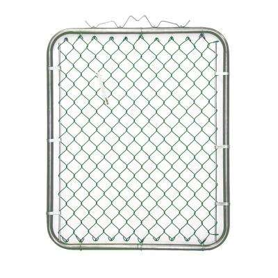 38 in. W x 48 in. H Green PVC Coated Steel Bent Frame Walk-Through Chain Link Fence Gate