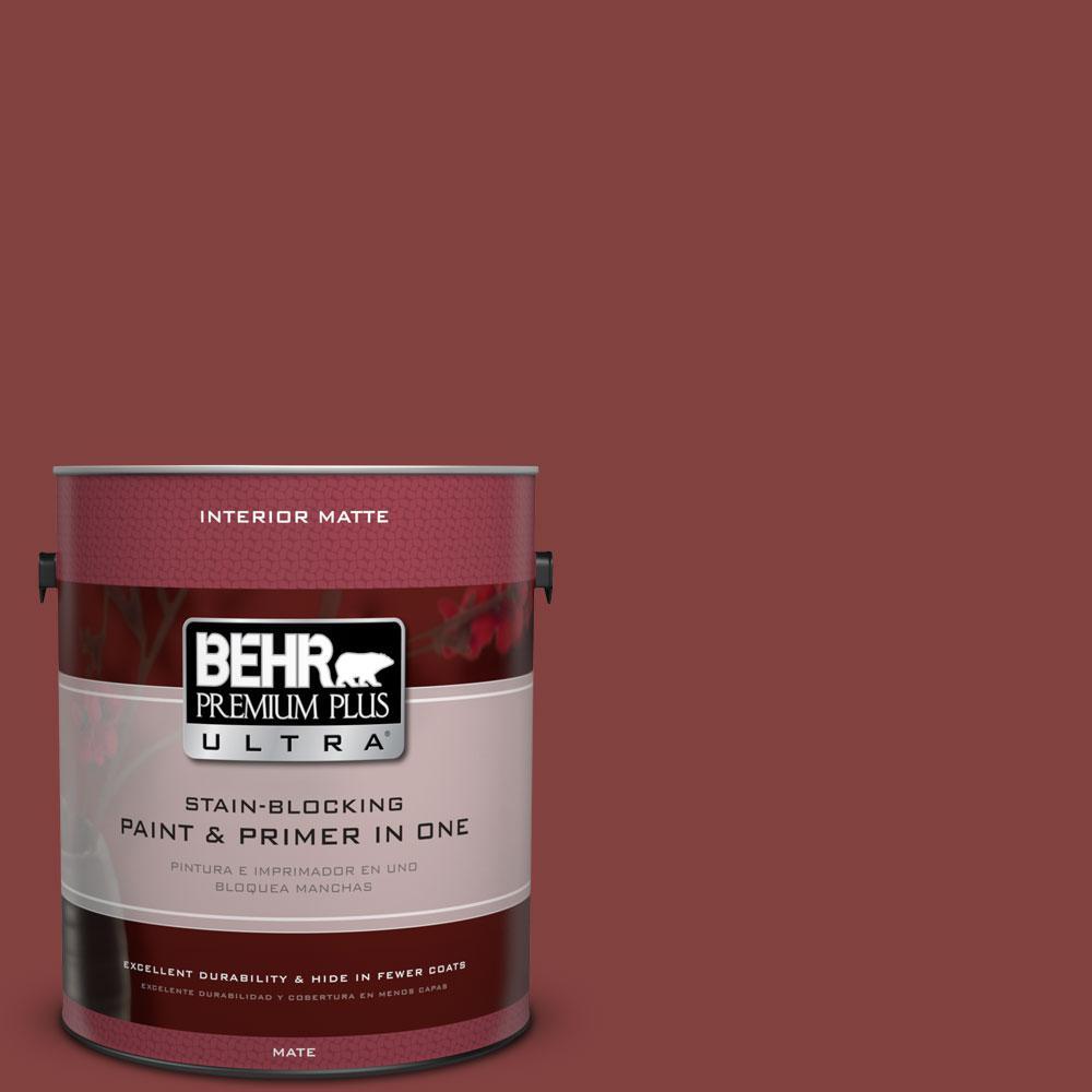 BEHR Premium Plus Ultra 1 gal. #S-H-170 Red Brick Flat/Matte Interior Paint