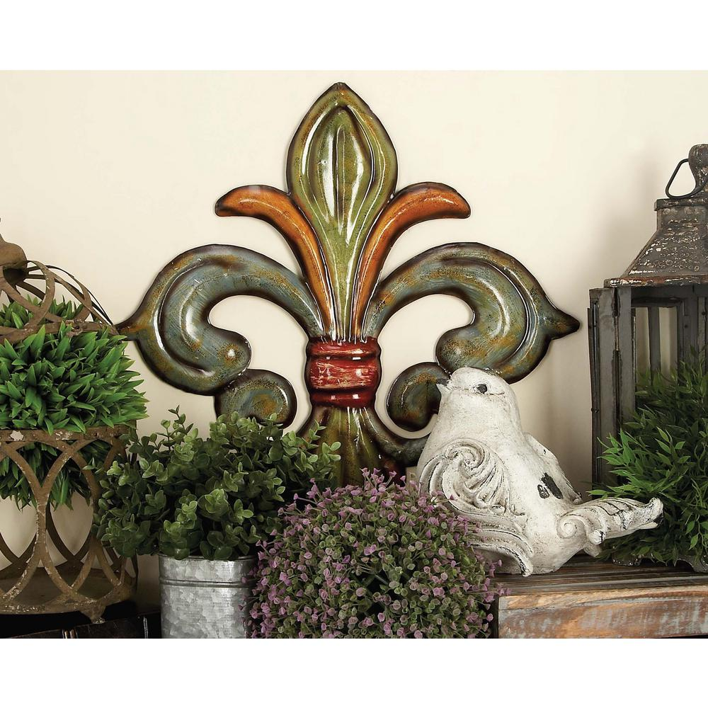 Elegant Metal Fleur De Lis Wall Decor In Green, Gold And Red (Set Of 3
